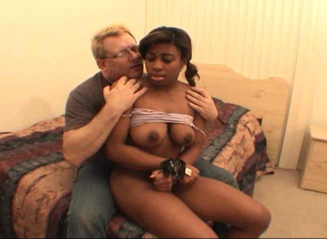 Busty ebony bitch Mia Peach first tries white cock